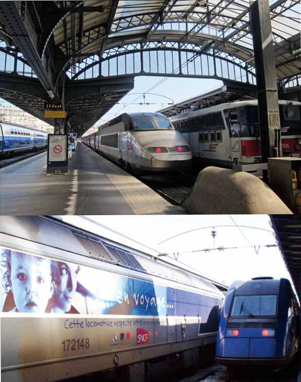 TGV 高鐵列車 停泊在車站內的TGV 高鐵列車,高科技的流線外型和風格古典的車站空間,相互激盪出一種超現實的違和感。