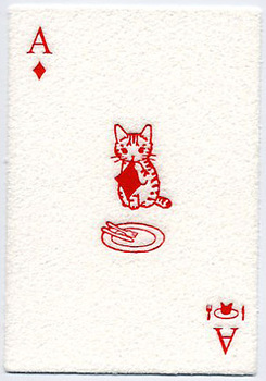 pottering cat poker postcard